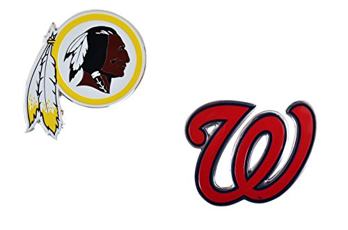 Rico Official Licensed Sports Teams Chrome Outlined Colored Auto Emblem, Washington Redskins - Nationals (Seahawks Patch Nfc)