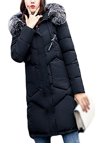 Long Black Hooded Women Casual Outwear Parkas Sevozimda Hairy Winter Quilted pZXgHnzqU