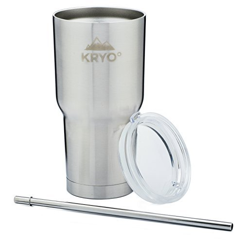 KRYO° KUP - 30 oz Limited Edition BlackOut Matte Black Powder Coat Tumbler Vacuum Insulated Stainless Steel Travel Tumbler Cup With Smoked Black Leak Proof Lid Only Spill Proof Lid On The Market