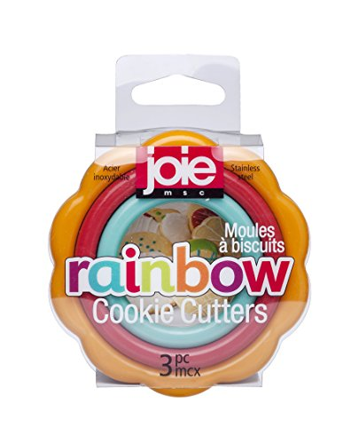 MSC International 17207 Joie Rainbow 3 Piece Graduated Cookie and Fondant Cutters, Assorted