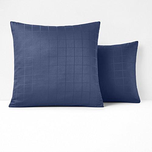 Squares Coverlet Satin (La Redoute Interieurs Cotton Satin Pillowcase Blue Size Square (63 X 63Cm))