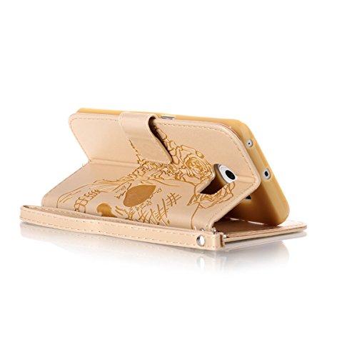 Funda Galaxy S6 Edge, Carcasa Plegable para Galaxy S6 Edge, Funda de piel Galaxy S6 Edge, Lifetrut Sólido Shiny Sparkle libro de estilo funda de cuero con ranura para tarjetas de cierre magnético sopo E207-Skull in Gold