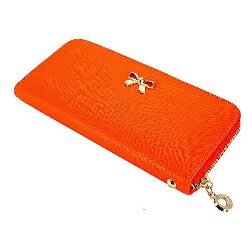(GEARONIC TM Women Wallet Long Clutch Faux Leather Card Holder Fashion Hand Purse Lady Woman Handbag Bag Orange)