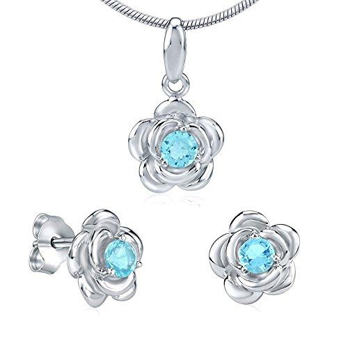 Juego de joyas plata circonita azul claro Pendientes y Colgante Flor Plata de ley
