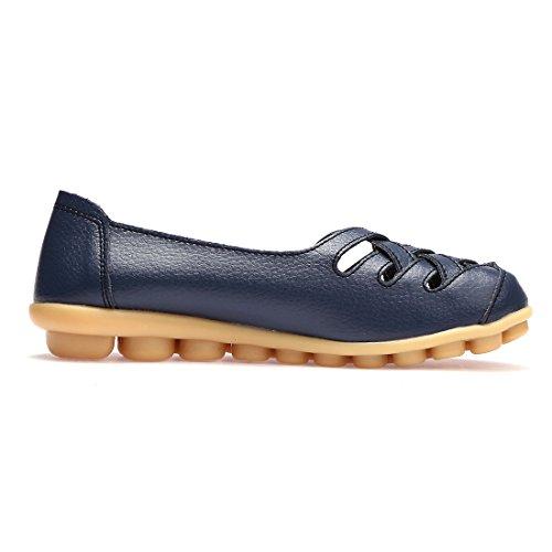 BTDREAM Damen Leder Slip-On Loafers Mokassins beiläufige flache treibende Bootsschuhe mit Memory-Foam-Einlegesohle 003-Marine