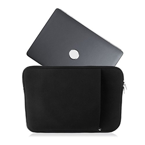 Black Laptop Sleeve Case Carry Bag With Rear Pocket Zipper For 13Inch Macbook