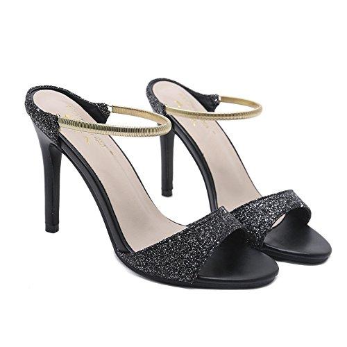 Hausschuhe Schlüpfen Mittlere Schwarz Maultiere Sommer Clogs Spitze ZPL Schuhe Sandalen Damen Stilett Slingback Ferse 6qf7xZ1Hw