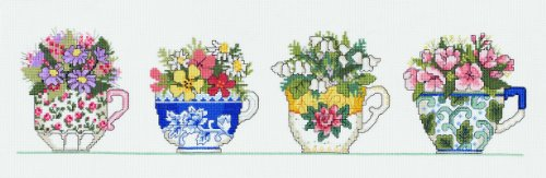 Janlynn Counted Cross Stitch Kit, Row of Teacups