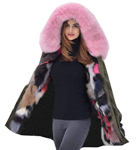Aox Women's Sweet Winter Pink Fur Collar Button Close Plus Size Hood Coat Jacket (2XL, Green)
