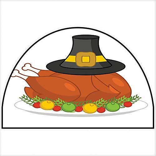 Hua Wu Chou Half Round Coir Door mathalf Round Dog mat W30 x H18 INCH Roast Turkey for Thanksgiving and Pilgrim hat Fowl on Plate