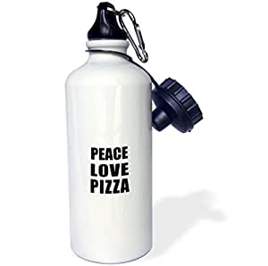 3dRose wb_184900_1 Peace Love and Pizza-Things That Make Me Happy-Food Pizza Fan Gift Sports Water Bottle, 21 oz, White