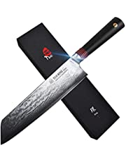"TUO kiritsuke - Damascus Kitchen Chef's Knives - Japanese AUS-10 HC Stainless Steel Cutting Core Blade - Rose Damascus Pattern - G10 Handle - Gift Box - Ring-RC Series - 8.5"""