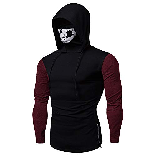 Turtleneck Interlock Mock Ladies (YOcheerful Mens Mask Skull Hoodie Solid Pullover Long Sleeve Hip Hop Hooded Sweatshirt Tops Blouse)