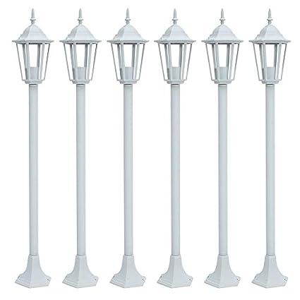 Wenwenzui-ES 6 Piezas de Aluminio Fundido luz de Linterna de jardín Impermeable lámpara de
