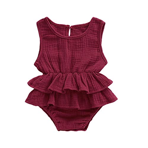 Emimarol Newborn Baby Girl Ruffled Solid Color Sleeveless Romper Infant One-Piece Backless Sunsuit Summer Jumpsuit 0-24M Coffee