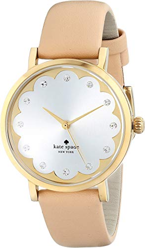 (kate spade new york Women's 1YRU0586 Metro Watch With Beige Leather Band)