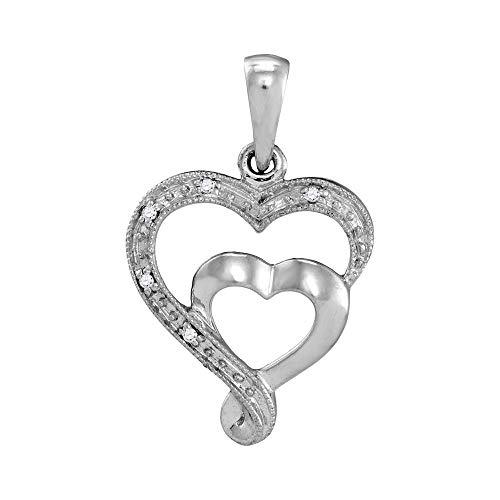 The Diamond Deal 10k White Gold Womens Diamond-accent Double Heart Pendant .01 Cttw ()