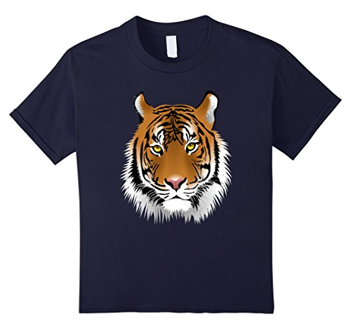 Child Tiger Costume At Zoo (Kids Tiger Costume Shirt For Jungle Theme Party Wildlife Zoo 12 Navy)