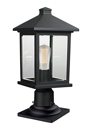 (Z-Lite 531PHMR-533PM-BK 1 Outdoor Pier Mount Light, Black)