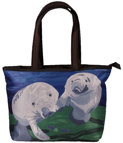 Manatee Shoulder Bag, Vegan Tote Bag - Animal Prints - From My Original Paintings - Support Wildlife Conservation, Read How (Manatees- Tanio (Manatee Purse)