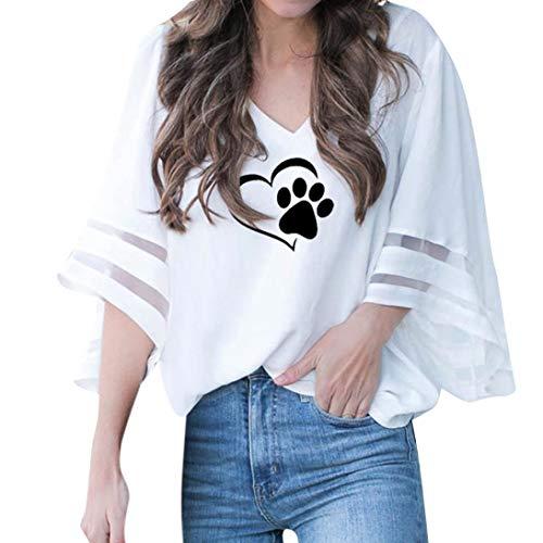 blanc Challeng Chat Shirt Mince de Impression T Col V en Empreintes Chemise Femme Cloche Lache Manchon qCZnqrU