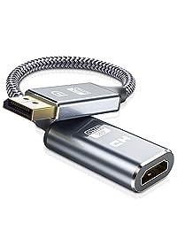 Adaptador DisplayPort a HDMI, Capshi 4K DP DisplayPort a HDMI convertidor macho a hembra chapado en oro DP a HDMI adaptador HP, HDTV, ThinkPad, Monitor, Proyector, Escritorio, AMD, NVIDIA- Grey