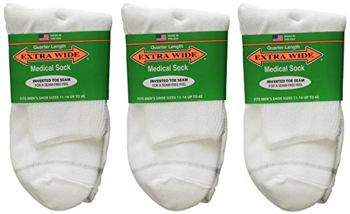 Extra-Wide Medical (Diabetic) Quarter Socks for Men and Women (3 Pack) (11-16 (Men), White) - Mens 3 Pack Quarter Sock