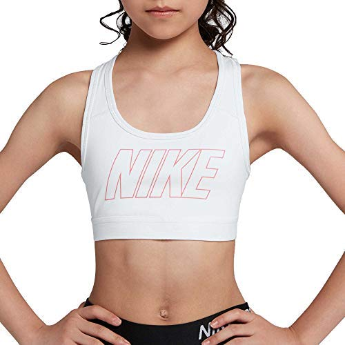 NIKE Girls Pro Dri-FIT Logo Strap Graphic Sports Bra (White/Pink, Large) (Nike Pro Sports Bra Kids)