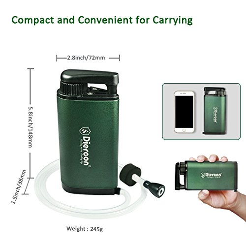 Diercon Tactical Water Micron filter Portable Water Purifier Pump With 3 Stage Water Purification:Removes 99.9999% of Waterborne Bacteria Perfect Emergency Survival Gear for Travel Camping or Hiking