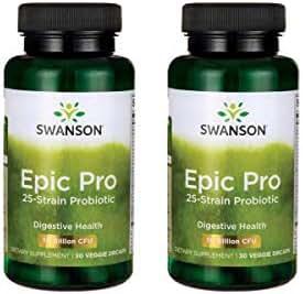 Swanson Epic-Pro 25-Strain Probiotic 30 Billion CFU Digestive Health Immune System Support Prebiotic Nutraflora FOS 30 DRcaps Veggie Capsules (Caps) (2 Pack)