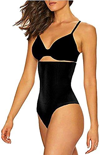 Women's High Waist Thong Postpartum Underwear C-Section Recovery Briefs Panties, Black, M/L