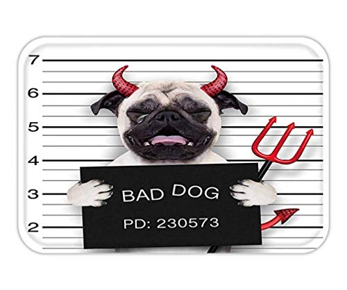 Friedman Doormat Halloween Devil Pug Dog Crying in a Mugshot Caught on with Photo Camera in Police Station Jail -
