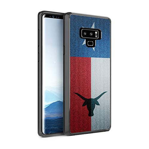Capsule Case Compatible with Galaxy Note 9 [Shockproof Bumper Cases Non Slip Scratch Resistant PC Hard Back Protective Black Case] for Samsung Galaxy Note 9 - (TX Texas Flag) ()