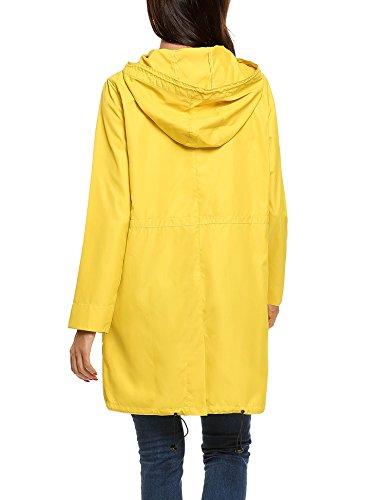Meaneor Mujer Abrigo Para Parka Amarillo Impermeable ZpaSv
