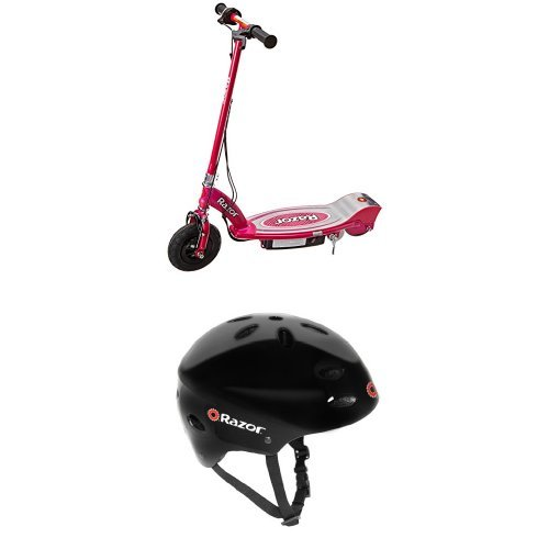 Razor E100 Electric Scooter (Pink) and Razor V-17 Youth Multi-Sport Helmet by Razor