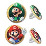 24 Super Mario Cupcake Ring Party Favor Decorations