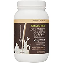 Amazon Elements Grass-Fed 100% Whey Protein Isolate Powder, Natural Vanilla , 2lbs