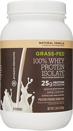 Cheap Amazon Brand – Amazon Elements Grass-Fed 100% Whey Protein Isolate Powder, Natural Vanilla , 2lbs