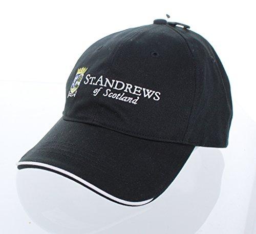 New! St. Andrews of Scotland Adjustable Buckle Back Hat Embroidered Golf Cap - Black