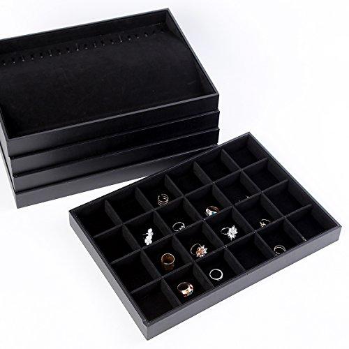 Soaptree Velvet 24 Grid Jewelry Tray Showcase Display Accessories Storage Organizer, Black