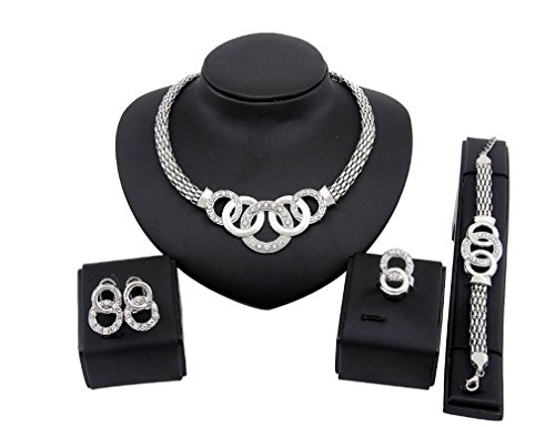 Iumer Four Sets Of Necklace Earrings Bracelet Ring Jewelry Set