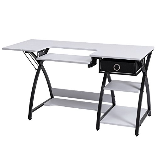 Costway Home Indoor Adjustable Sewing Craft Table Sewing Machine Sturdy  Computer Desk With Drawer U0026 Shleves