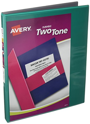 Avery Durable Two Tone View Binders with Slant Ring, Holds 8-1/2 x 11 Paper, 1/2, Assorted (17241)
