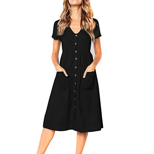Yellsong Mini Dress,Womens Fashion V Neck Sleevele Button Pockets Pure Color Loose Summer
