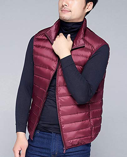 Padded Puffer Red Warm Mens Vest Jacket Gilet Down AIEOE Winter Ultralight Wine Soft Coat HwpnC5Cq