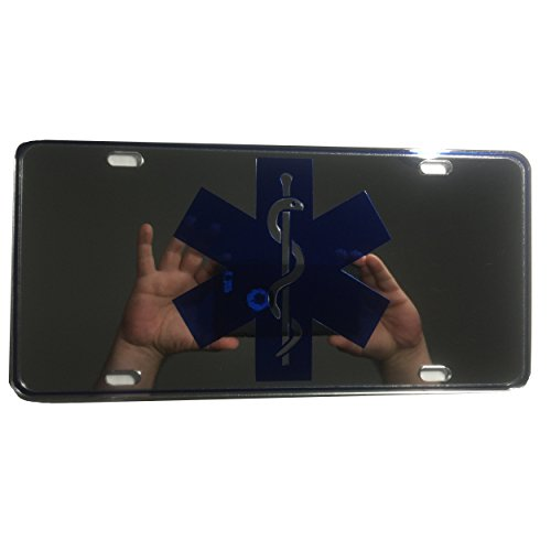 CustoMonsterDesigns EMT MFR Medic EMS License Plate Star of Life License Plate Chrome Royal Blue on Clear Mirror License Plate S14