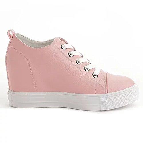 Sportliche Damen Sneakers Low Up Wedge Turnschuhe Pink
