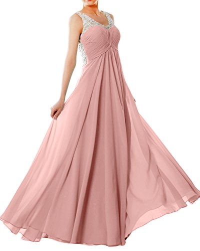 Formal EveningBall Dress Chiffon Prom MACloth Zartrosa Straps Long V Lace Neck Women Gown vqzTwZ