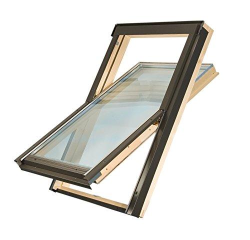 Dachfenster der Marke Solstro Premium Holzschwingfenster mit Eindeckrahmen f.Ziegel, Dachfenster 55x78 55 x 78 cm wie C02, CK02, C2A
