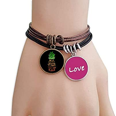 FerryLife Pineapple Stand Tall Quote Love Bracelet Leather Rope Wristband Couple Set Estimated Price £9.99 -